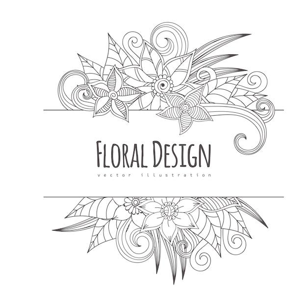 Frame van bloemen Premium Vector