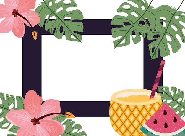 Frame van heerlijke tropische vruchten Gratis Vector