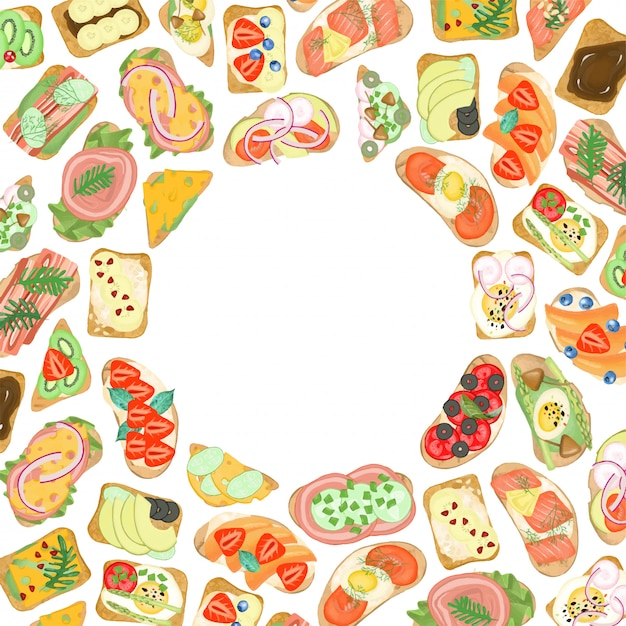 Frame van sandwiches met verschillende ingrediënten, met de hand getekend op een witte achtergrond Premium Vector