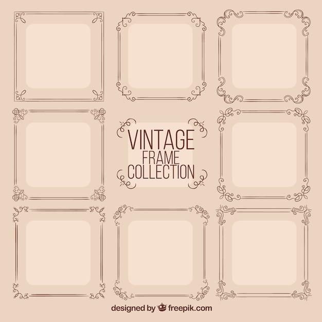 Framecollectie in vintage stijl Gratis Vector