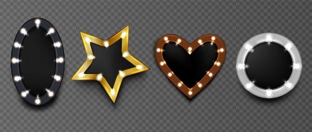 Frames met gloeilampen op geïsoleerde zwarte raad. ronde, ster- en hartvormige make-up mirro Gratis Vector