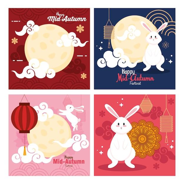 Frames met konijnenmanen en lantaarnsontwerp, gelukkig medio herfst oogstfeest oosters chinees en feestthema Premium Vector