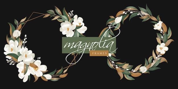Frames met magnolia bloemenbladeren Premium Vector