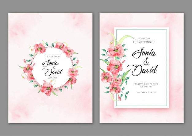 Frames met roze bloemen op roze kaart Premium Vector