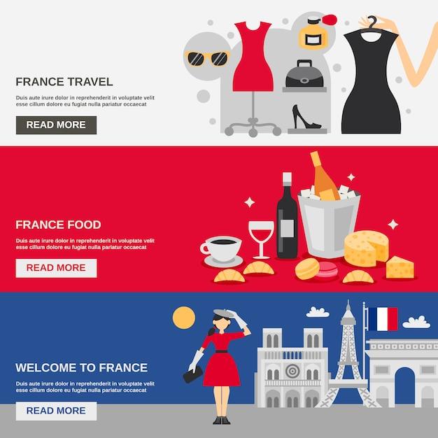 Frankrijk banner set Gratis Vector