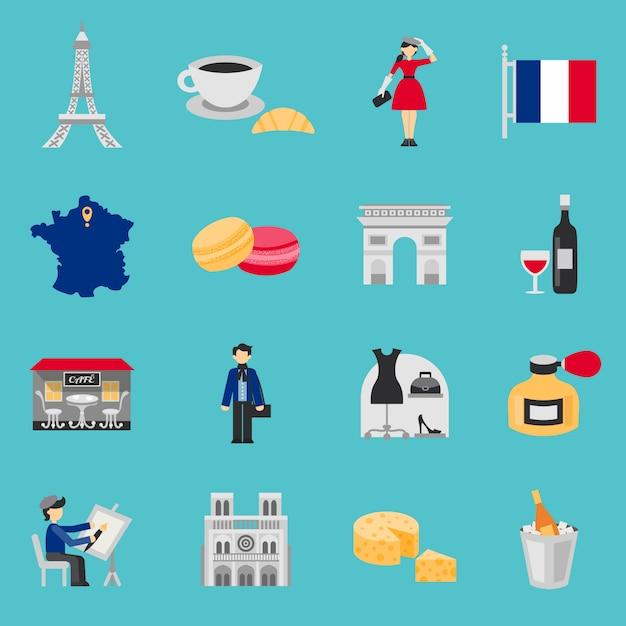 Frankrijk iconen vlakke set Gratis Vector