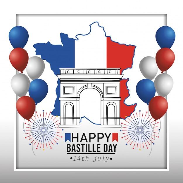 Frankrijk kaart met champs elyses en ballonnen Gratis Vector