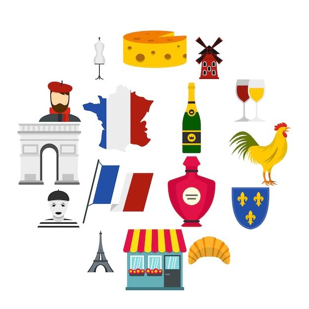 Frankrijk reizen set plat pictogrammen Premium Vector