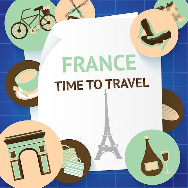 Frankrijk tijd om parijs te reizen Premium Vector