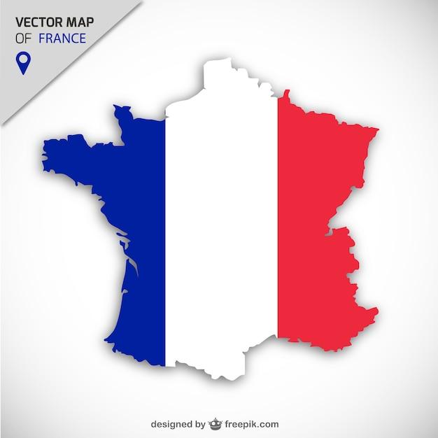 Frankrijk vector kaart Gratis Vector