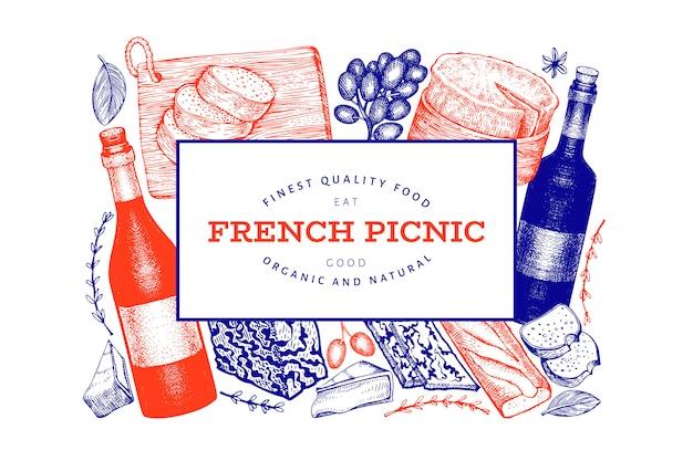 Frans eten illustratie ontwerp met gegraveerde stijl verschillende snack en wijn Premium Vector