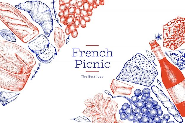 Frans eten illustratie ontwerpsjabloon. Premium Vector