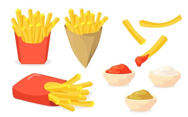 Franse frietjes ingesteld. aardappelstokken in papieren kegels, ketchup, mayonaise, mosterdsauzen die op wit worden geïsoleerd Gratis Vector