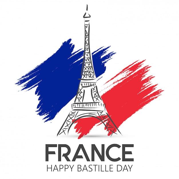 Franse nationale feestdag. happy bastille day Premium Vector