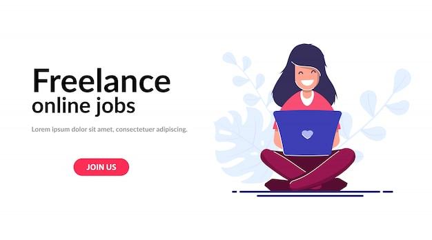 Freelance concept websjabloon. meisje met een laptop, een werknemer werkt vanuit huis of tijdens het reizen Premium Vector