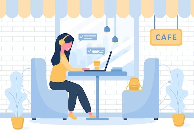 Freelance dames. meisje die met laptop in hoofdtelefoons bij een lijst in koffie zitten. concept illustratie voor studeren, onderwijs, thuiswerken, gezonde levensstijl. illustratie in vlakke stijl. Premium Vector