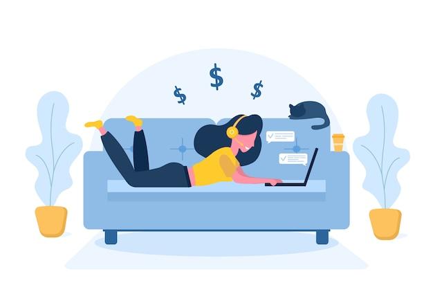 Freelance dames. meisje met laptop in hoofdtelefoons die op de bank liggen. concept illustratie voor werken, studeren, onderwijs, thuiswerken, gezonde levensstijl. illustratie in vlakke stijl. Premium Vector