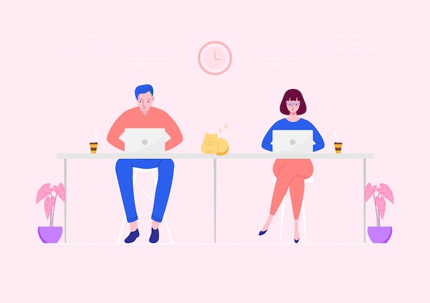 Freelance mensen die werken op laptop op werkruimte. Premium Vector