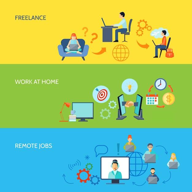 Freelance online werk thuis en op afgelegen banen platte kleurenbanner Gratis Vector