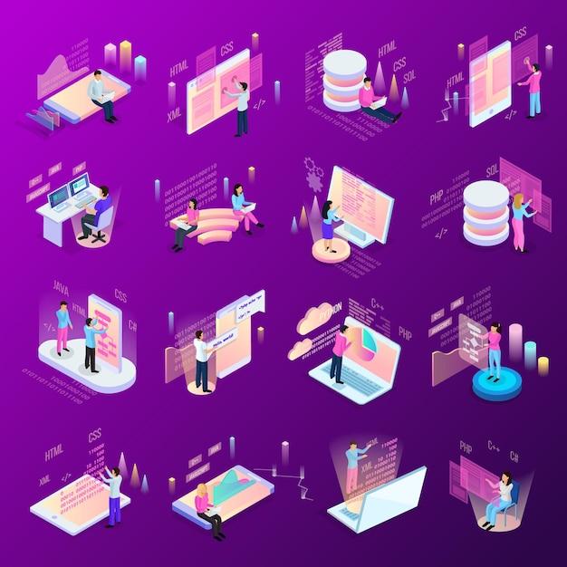 Freelance programmeren isometrische iconen set van geïsoleerde menselijke personages en moderne interfaces met infographic pictogrammen Gratis Vector