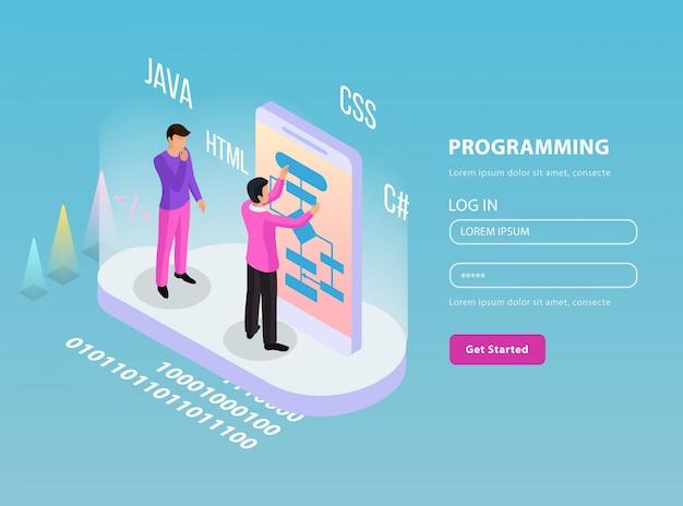 Freelance programmeren isometrische samenstelling met twee programmeurs op het werk en inloggen wachtwoord lijnen illustratie Gratis Vector