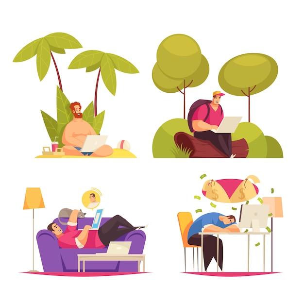 Freelance remote flexibel werk 4 cartoon concept composities met schrijven onder palm chatten op sofa Gratis Vector