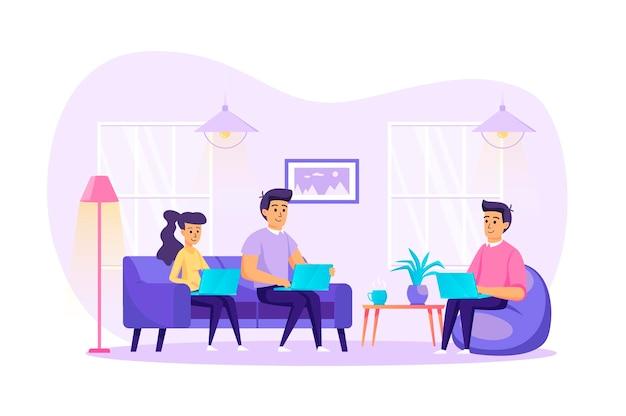 Freelance werk vanuit het platte ontwerpconcept van het thuiskantoor met de scène van mensenpersonages Premium Vector