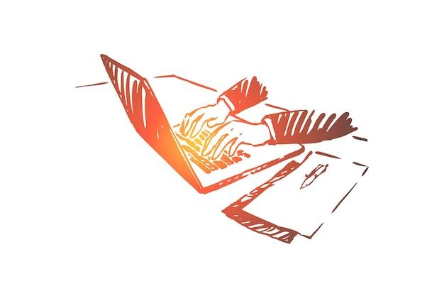 Freelance, werk vanuit huis, zakenman die met laptopillustratie werkt Premium Vector