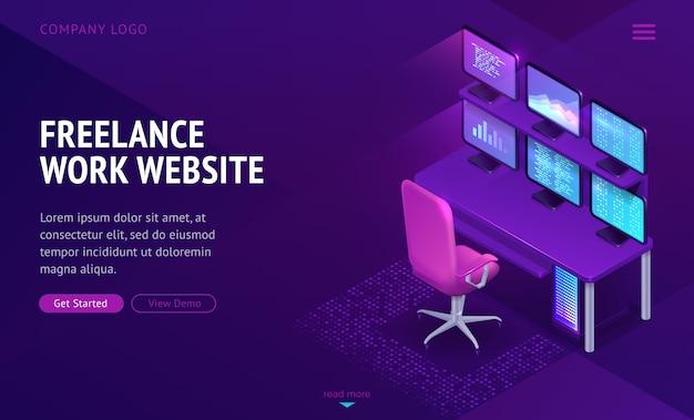 Freelance werk website isometrische bestemmingspagina Gratis Vector