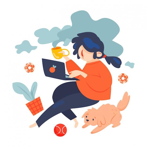 Freelance werknemer met hond - vectorillustratie Premium Vector