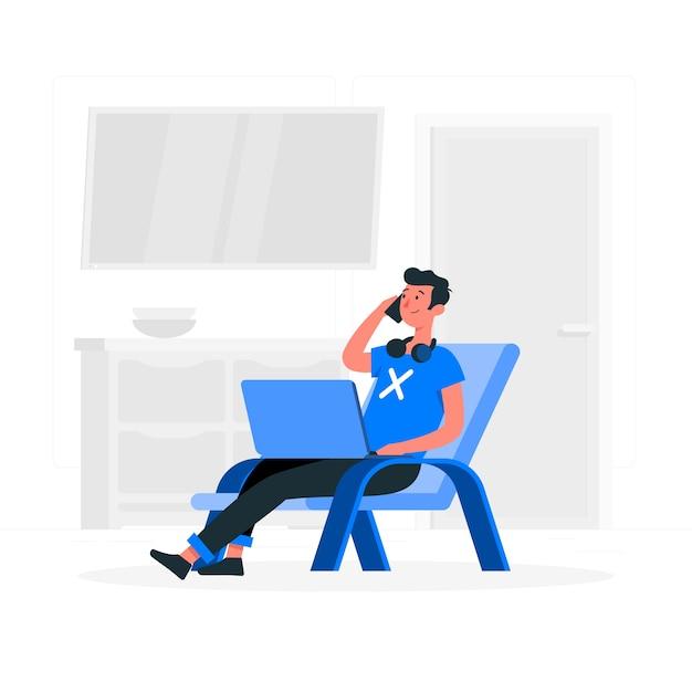 Freelancer concept illustratie Gratis Vector