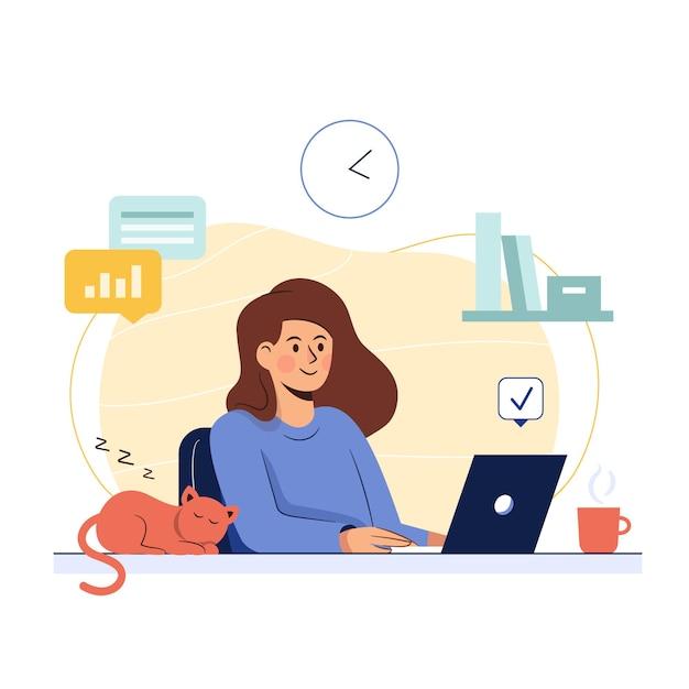 Freelancer die bij haar thuis aan laptop werkt Gratis Vector