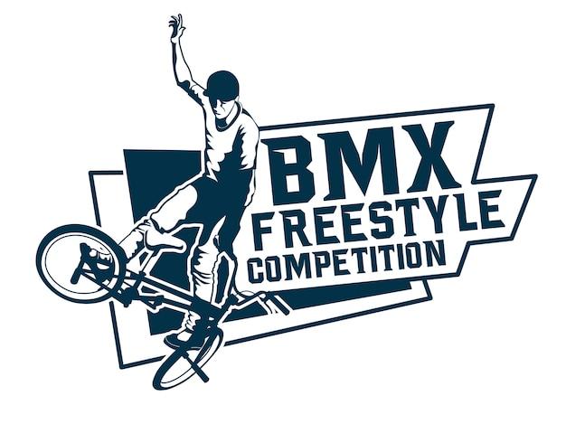 Freestyle bmx-wedstrijdlogo Premium Vector