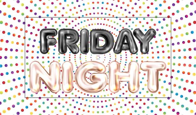 Friday night banner met gekleurde stippen Premium Vector