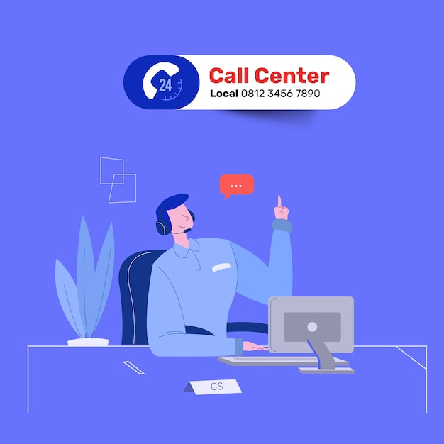 Friendly man call centre service answer question Premium Vector
