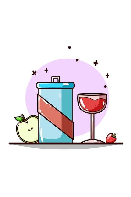 Frisdrank, bier, appel en aardbei handtekening Premium Vector