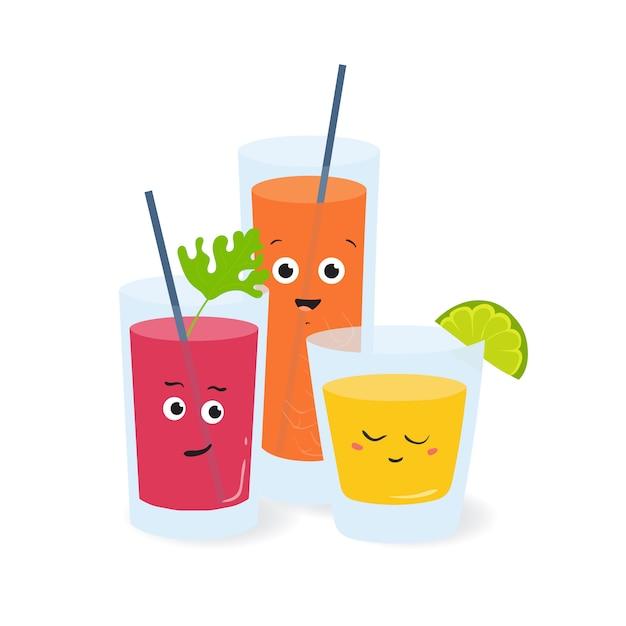 Frisdrank in glazen met schattige grappige gezichten. fruit- en groentesappen Premium Vector