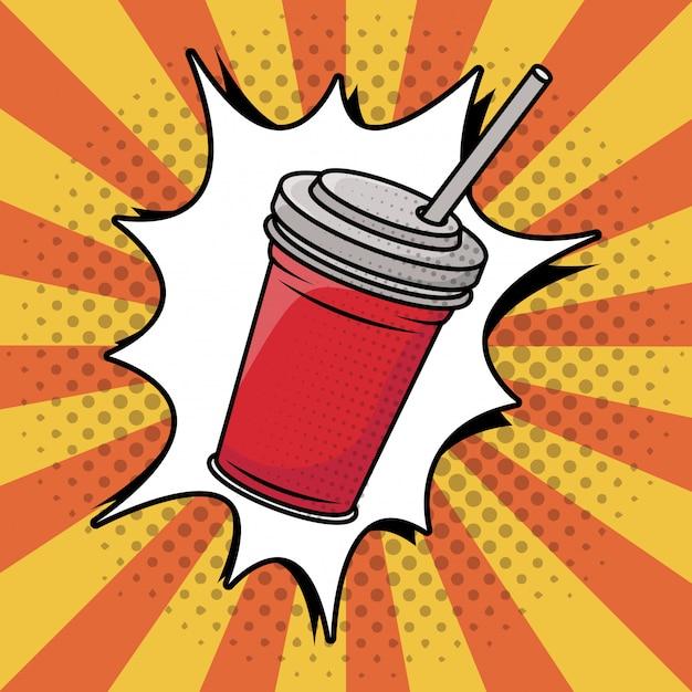 Frisdrank in plastic pot pop-art stijl Gratis Vector
