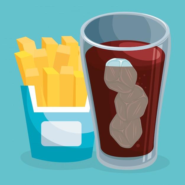 Frisdrank met frietjes fast food Gratis Vector