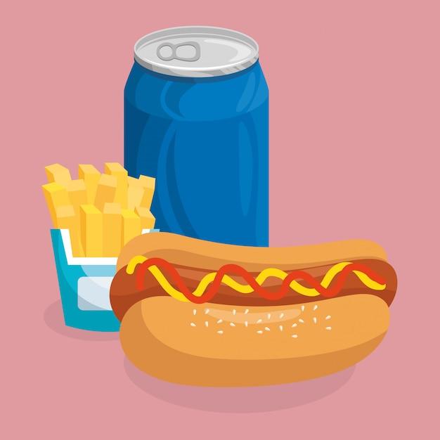 Frisdrank met hotdog en frietjes fast food Gratis Vector