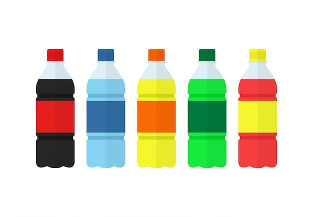 Frisdrank, water en sap of theeflessen. set van flessen natuur drankjes Premium Vector
