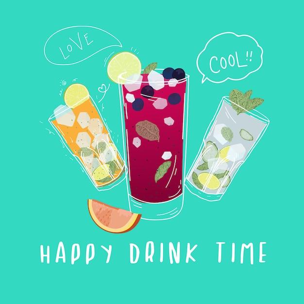 Frisdranken, cocktails met doodle-stijl Premium Vector