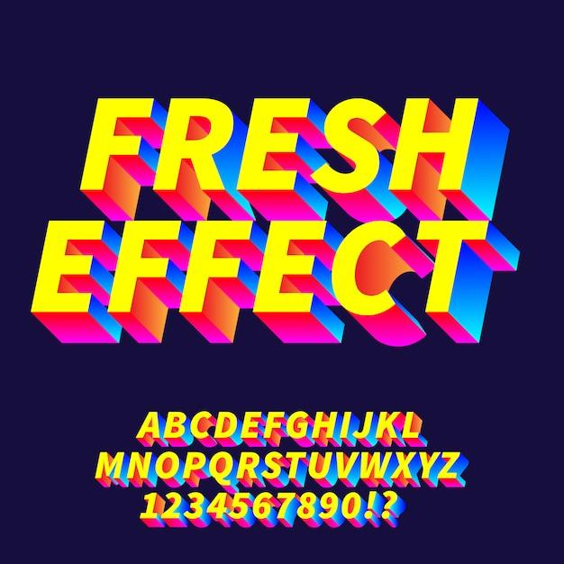 Frisse effect gradiënt alfabetten Premium Vector