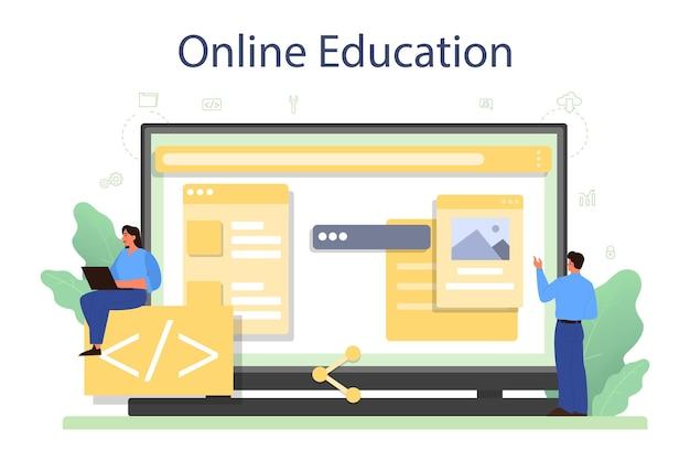 Front-end ontwikkelaar online service of platform Premium Vector