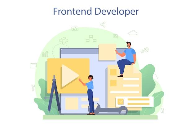 Frontend ontwikkelaar concept. Premium Vector