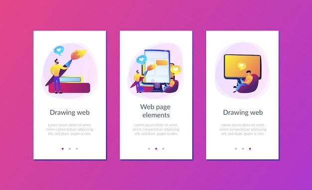 Frontend ontwikkeling it app interface sjabloon Premium Vector
