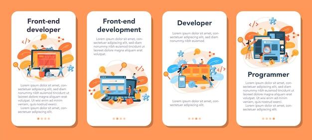 Frontend ontwikkeling mobiele applicatie banner set Premium Vector
