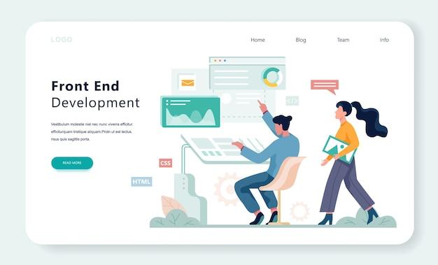 Frontend ontwikkeling web banner concept. verbetering van de website-interface. illustratie Premium Vector