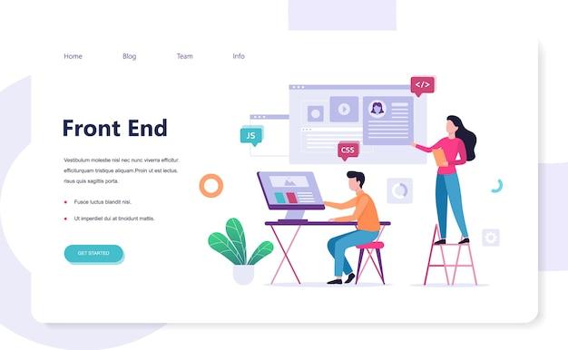 Frontend ontwikkeling web banner concept. verbetering van de website-interface. ontwikkelaar die naar de grafiek kijkt. illustratie Premium Vector