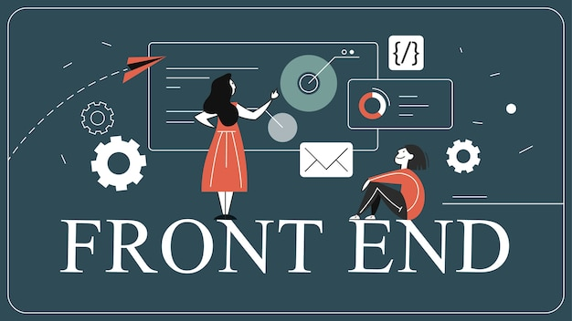 Frontend ontwikkeling web banner concept. website-interface Premium Vector